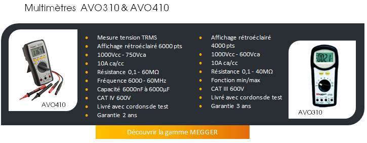 MULTIMETRES MEGGER AVO310 & AVO410
