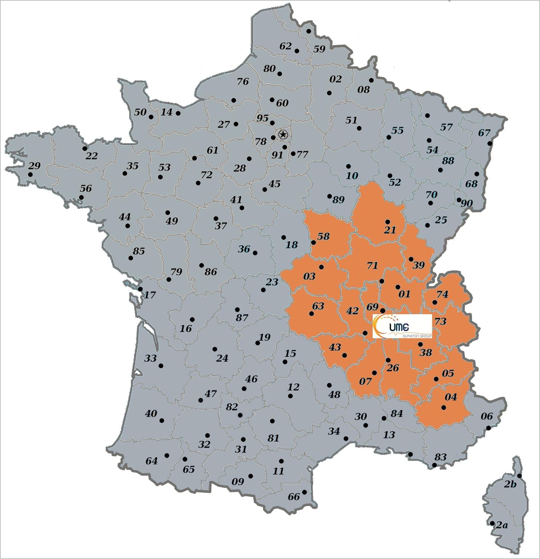carte de France zone commerciale UME