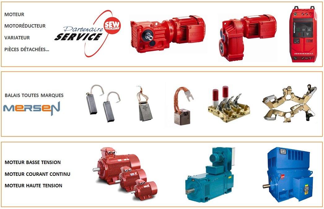 Moteur SEW, moto réducteur SEW, variateur SEW, Balais MERSEN, moteur basse tension, moteur courant continu, moteur haute tension, moteur vibrant, pompe, immergée, ventilation.